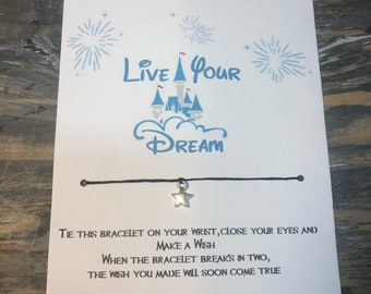 Live your dream wish bracelet.Disney wish bracelet.Disney world bracelet.disney Princess wish bracelet.live your dream charm