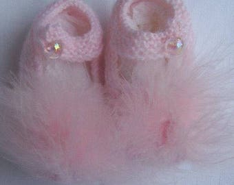 Marabou, Pink Baby Booties, knitted baby booties, baby girl booties, hand knit baby shoes, knitted baby booties, pink baby shoes,