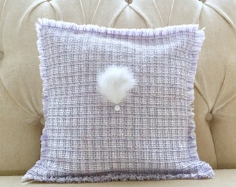 Decorative cushion cover for living room and bedroom in Tweed fabric purple with Pearl and white rabbit fur hand embroidered.