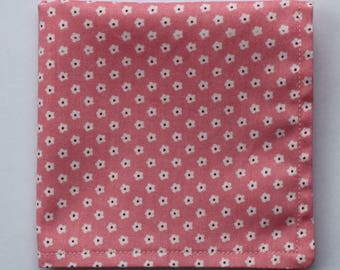 Hankie Pocket Square Handkerchief Pink With White Flower Quality Cotton UK Made