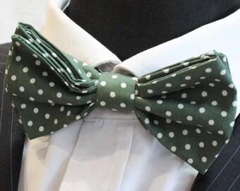 Bow Tie.UK Made.Dark Green / White Polka Dot. Cotton. Premium Quality Pre-Tied.