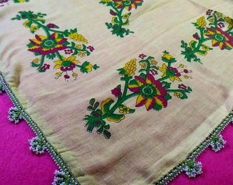 Turkish Yemeni traditional handmade vintage ancient scarf women accessory embroidery scarves