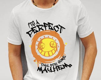 It's A Perfect Day For Mayhem Overwatch Junkrat  Mens White T-shirt Boyfriend gift girlfriend gift valentine gift