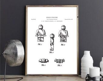 Lego figure patent print art - Vintage printable patent poster artwork drawing - Instant Digital download - Wall art decor - Blueprint