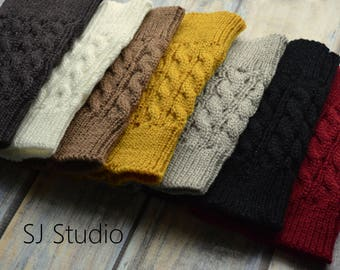 Women's Knitted Boot Cuffs - Ladies Leg Warmers - Boot Socks - Boot Toppers - Ivory Mustard Burgundy - Teacher Gift - Stocking Stuffer
