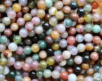 6mm Indian Agate beads, full strand, natural stone beads, round, 60067