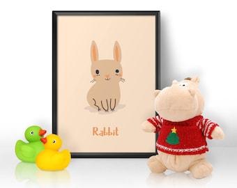 Nursery Print, Nursery Wall Art, Rabbit Print, Animal Print, Gift for Baby, Gift for a Baby Girl, Gift for a Baby Boy, Child's Bedroom Print