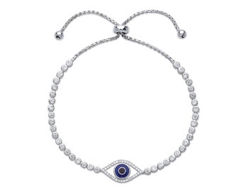 "Ladies 7.5"" Sterling Silver Evil Eye Cz Friendship Bracelet"
