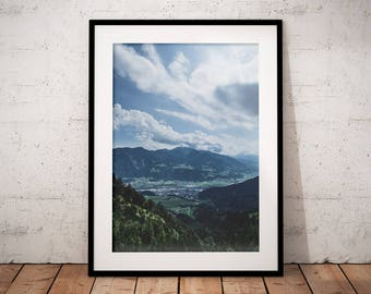 Cloudy Mountain Print, Alpine Valley Poster, Alps Home Decor, Mountain Wall Art, Printable Deco, Nature Landscape, White Clouds, Blue Sky