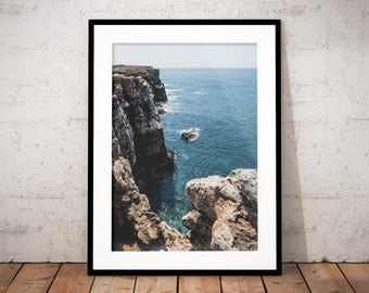 Ocean coast digital print, Portugal sea, blue water, steep cliffs, nature printable photography, landscape, home decor, wall art, office