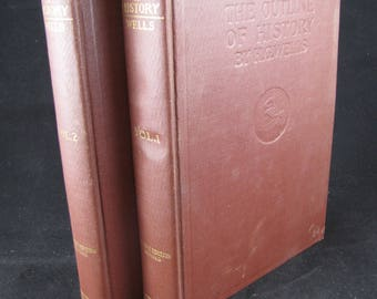 The Outline of History, Volumes 1 and 2 of a 4 Volume Set, Hardback (2 books), 1923