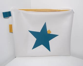 Shelf - bag/pouch white leatherette cover - Blue Star