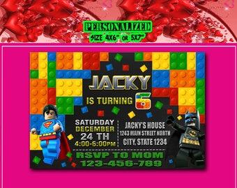 Lego Invitation, Lego Birthday, Lego Invite, Lego Party, Lego Birthday Invitation, Lego Party Invite, Lego Birthday Party, Lego Card, Lego