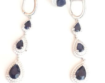 Lab created Sapphire Cubic Zerconia 925 Sterling silver Set