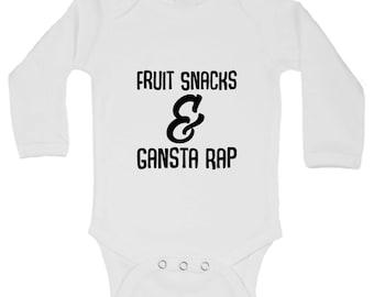"""Kids Cute Onesie """"Fruit Snacks And Gangsta Rap"""" Funny Bodysuit Onesie Gift -B930"""