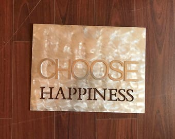 Choose Happiness Metal Home Decor Sign