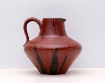 Vintage West German Pottery Fat Lava WGP Ceramic Handled Vase 242 CERAMANO serie STROMBOLI by Hans Welling
