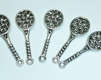 """4 """"tennis"""" 30x11mm openwork silver metal charms"""