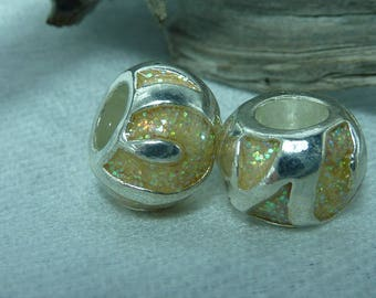 2 beads 12 mm charm in silver iridescent glitter