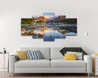 Proverbs 3:5-6 #9 NIV Trust in the Lord Bible Verse Canvas | Christian Canvas | Scripture | Religious | Wall Art | Home Decor Paintings