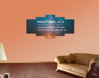 Philippians 4:13 #4 KJV 'I can do all things' Christian Scripture Bible Verse Wall Art Canvas | Christian Wall Home Decor | Religious