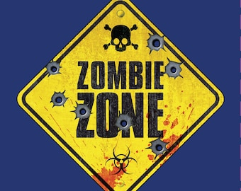 Funny Zombie Tshirt - ZOMBIE ZONE - Biohazard Warning Sign! Zombie Gifts for One and All! Survive the Zombie Apocalypse in Style!