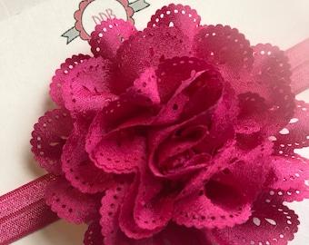 Pink hair bow, Valentine's Day hair bow, infant bow, infant headband, girl hair bow