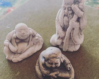 Netsuke 3 Handcarved Japanese Miniature Figurines / Ornamental Good Luck Figurine