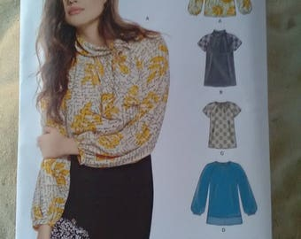 Newlook 6471 sewing pattern. Blouse top tunic 4 variations. Sizes 10-22