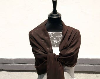Chocolate brown chiffon wedding shawl