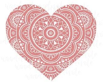 Mandala Heart SVG Love Valentine's Day Digital Cut File Cricut Pink V-day