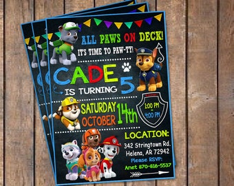 Paw Patrol Birthday Invitation. Invitations. Paw Patrol Invitation. Paw Patrol Birthday Party. Paw Patrol Party. DIY