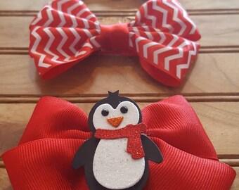 Holiday hair bow set, Christmas hair bow, candy cane hair bow, red and white hair bow, girls hair bow