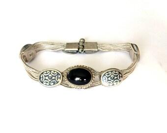 Vintage Sterling Silver 800 Ethnic Turkish Niello Onyx Mesh Bracelet