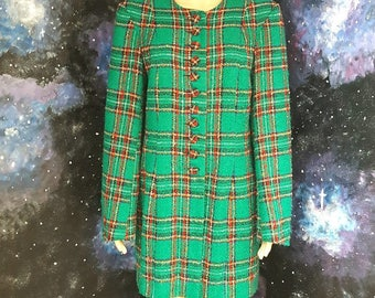 VINTAGE Green Midi  Boucle Tweed Coat Jacket Retro Grunge by  1990s UK12-14