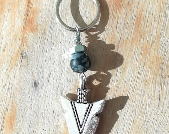 SPEAR Black and gray OBSIDIAN dangling earring