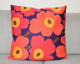 "Cushion cover, Pillow Case handmade of MARIMEKKO UNIKKO Satin cotton fabric. Pillow Cover size 45 cm (18''), 50 cm (20"") Scandinavian Design"