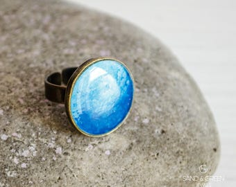 Blue impressionism round ring, hand painted enamel ring, Dark light blue ring, cocktail ring, everyday adjustable resin ring, gift for her