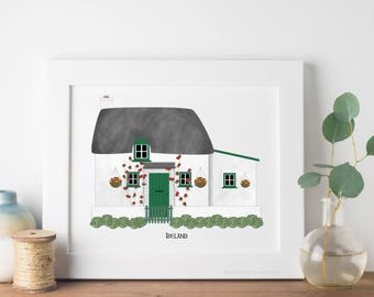 Ireland Travel Art Print - Irish Cottage