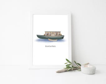 Amsterdam Travel Art Print - House Boat