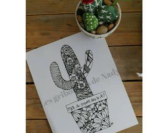 Mandala à colorier et à imprimer vous-même - Cactus - fait main - anti-stress - zentangle - mandala - dessin - détente - relaxation - loisir