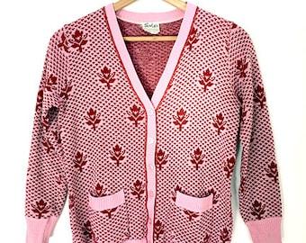 Vintage  - Pink - Floral - Patterned - Cardigan - With pockets - 1950's