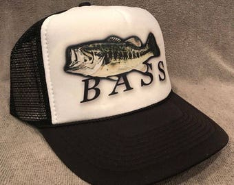 Bass Fishing Trucker Hat! Vintage Style Mesh Snapback Cap! 2 Colors Available!