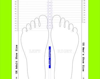 shoe size chart printable