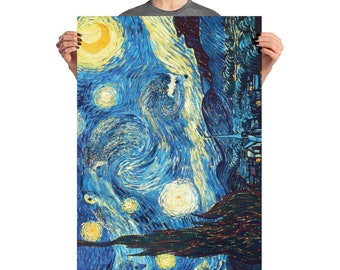 Van Hog's Starry Hedgehog Night Poster