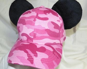 Pink camo Mickey ears baseball hat