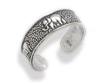 925 solid Sterling Silver Elephant Band Toe Ring