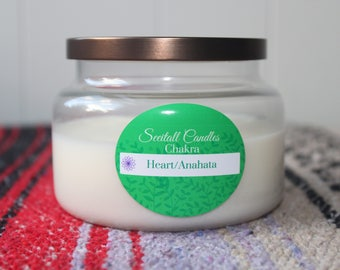 Heart Chakra with crystal Rose quartz - chakra balancing - organic soy 8oz candle - aromatherapy- apothecary - essential oil- Valentines Day