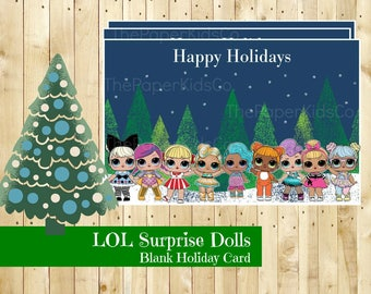 L.O.L Surprise Doll - Pine Tree Christmas Card - Printable - Digital Download