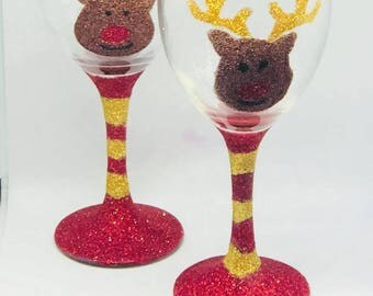 Reindeer glitter glasses, Christmas gifts, reindeer glassware, stocking fillers, novelty Christmas gifts, tableware,